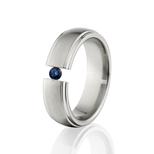 - Sapphire Ring Titanium Tension Set Jewelry Stunning Sapphire Band