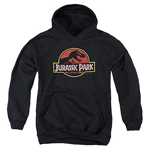 Jurassic Park Classic Logo T Rex Kids Youth Pullover Hoodie & Stickers (Small)