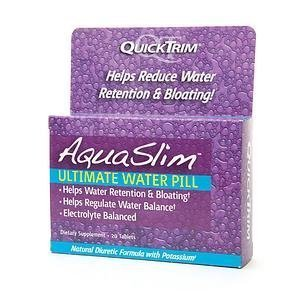 Aqua Slim Quicktrim Ultimate Water Pill from Kim Kardashian 20 tablets each Natural Potassium