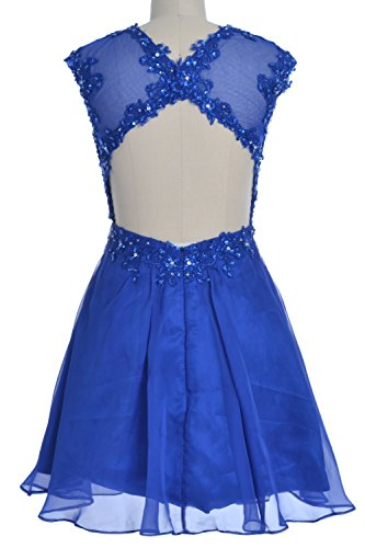 MACloth Women Lace Open Back Short Bridesmaid Dress Wedding Party Cocktail Gown Marfil