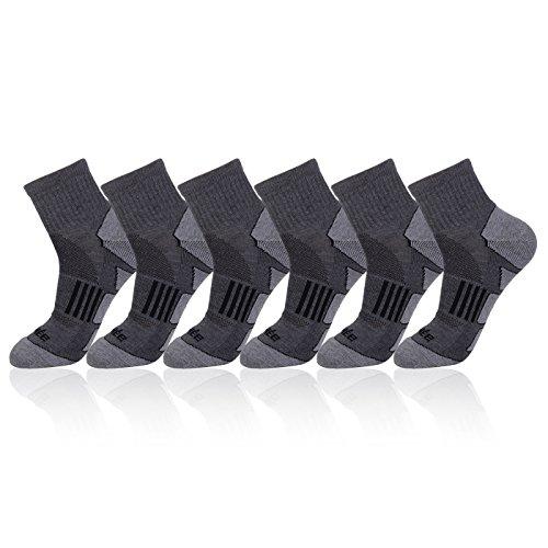 Gray Socks Quarter (JOYNÉE Men's 6 Pack Athletic Performance Cushion Ankle Running Quarter Socks)