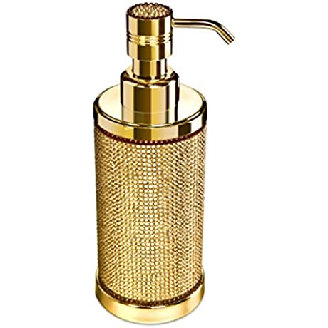 Starlight Round Table Soap Lotion Dispenser Pump For Kitchen Bathroom Countertops W Swarovski Crystals Polished Gold