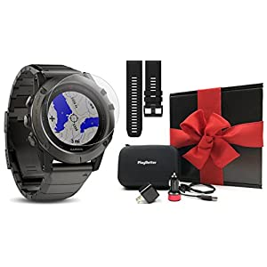 Garmin fenix 5X Sapphire (Slate Gray with Metal Band) GIFT BOX | Bundle: Extra Band (Black), Screen Protector, PlayBetter USB Car/Wall Adapter, Protective Case | Multi Sport GPS Watch, Wrist HR, Maps