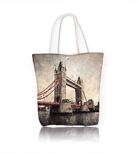 Women's Canvas Tote Handbags Tower Bridge in London England retro style with red elements Casual Top Handle Bag Crossbody Shoulder Bag Purse W14xH15.7xD4.7 INCH