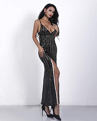 V Missord Sleeveless with Prom Black Neck Side Dress Split Maxi Women's Sequined qw1EqCpU