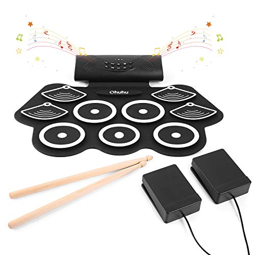Ohuhu 9 Pads Roll Up Drum Kit with Built-In Speaker, Headphone Jack, Drum Pedals and Drum Sticks, Electronic Drum Set for Kids and Adults Birthday Christmas Xmas Gift Presents (Set Drum Electronic Kids)