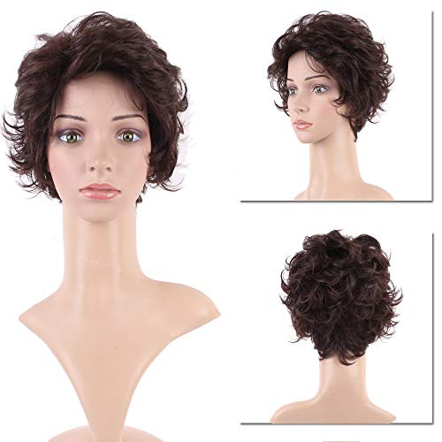Short Curly Wig for Women Heat-resistant Synthetic Hair Messy Pixie Fluffy Full Anime Wigs Without Bangs for Cosplay Costume Daily Dark Brown