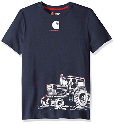 (Carhartt Baby Boys Short Sleeve Cotton Graphic Tee T-Shirt, Tractor wrap (Navy Blazer) 24M)