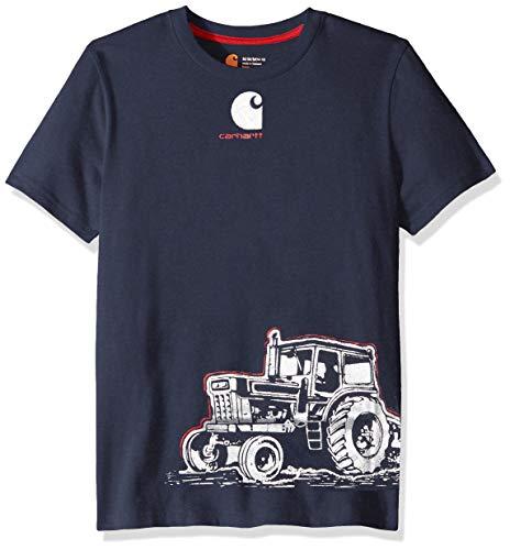 (Carhartt Baby Boys Short Sleeve Cotton Graphic Tee T-Shirt, Tractor wrap (Navy Blazer) 18M)