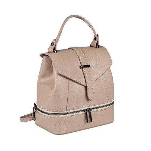 OBC MADE IN ITALY 2in1 DAMEN Echt LEDER TASCHE RUCKSACK Schultertasche Handtasche Umhängetasche Ledertasche Lederrucksack CrossOver Daypack Backpack Crossbag Weiß Altrosa 6Zjg31Oem