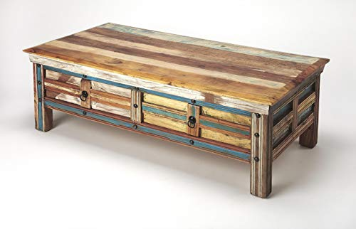 ti-Color Rectangular Mango & Acacia Wood Solids, Antique Black Finished Iron Hardware Reverb Painted Rustic Coffee Table ()