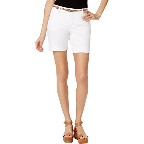 (LEE Platinum Petite Georgia Belted Shorts (White, 6P))