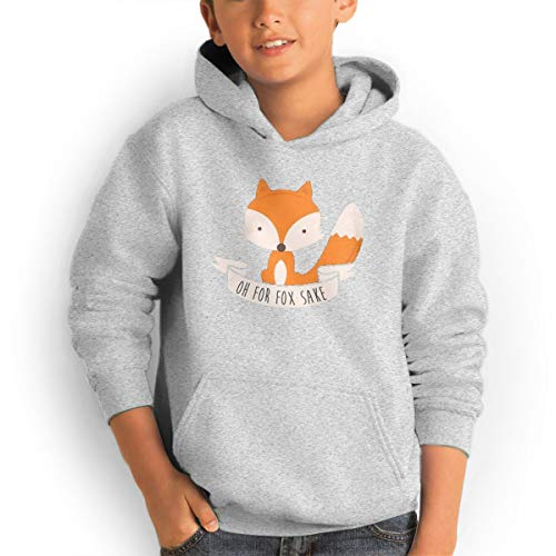 Youth Hooded Sweatshirt Loose Hooded Sweatshirt Oh for Fox Sake Logo Gray M