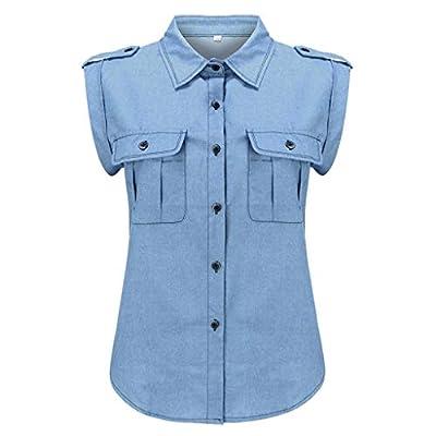 WILLBE Women Denim Top Casual Blouse Button Lapel Pocket Sleeveless Ladies Top Shirts Blouse Fashion Sleeveless Top