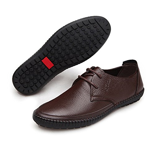 Leather Shoes, Classic Men's Leather Shoes Round Toe Genuine Cowhide Leather Upper Lace up Flat Soft Sole Loafer Brown