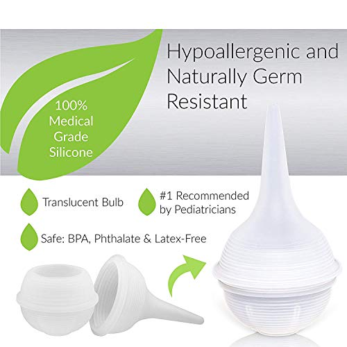 Innovo Hospital Grade Silicone Twister Bulb Baby Nasal Aspirator and Ear Syringe, Snot Sucker and Mucus Sucker, Non-Toxic Nasal Ear Bulb, Cleanable and Reusable