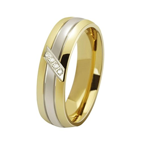 MoAndy Jewelry Qomen Men Stainless Steel Fashion Wedding Promise Ring Cubic Zirconia Valentine's Day Gift