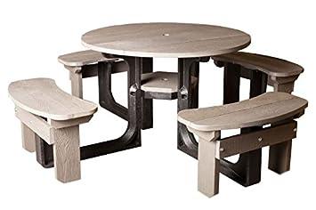 Grand 8 places en plastique recyclé Gris Table de pique-nique avec ...
