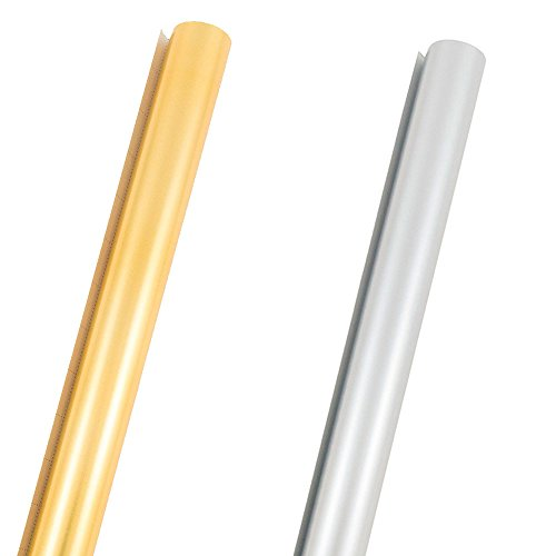 JAM Paper Solid Color Wrapping Paper - 50 Sq Ft - Matte Gold & Silver Combo Pack - 2 Rolls/Pack