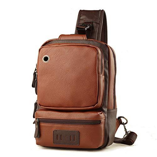 015078c22fc6d Fashion Men Chest Bag Famous Brand Leather Vintage Messenger Shoulder Bag  Khaki