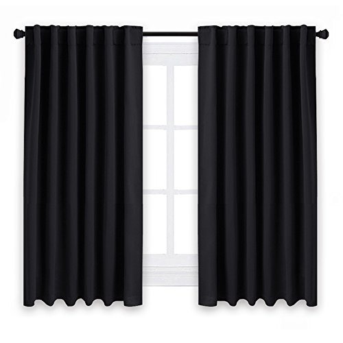 NICETOWN Blackout Curtain Blinds for Windows – (Black Color) 52″ W x 54″ L, Set of 2, Light Reducing Room Darkening Panels for Doors For Sale