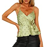 Sexy Womens Polka Dot Lace-Up Cross Casual Basic Strappy Solid Tank Tops
