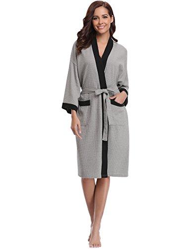 Aibrou Unisex Waffle Bathrobe Cotton Lightweight Nightgowns Sleepwear Spa Robe (Square Waffle Robe)