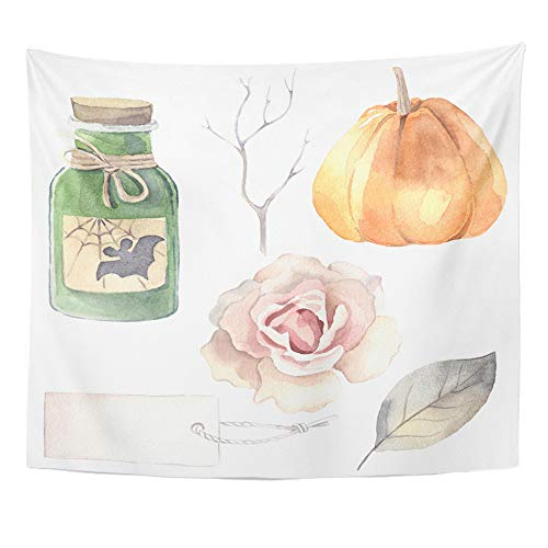 Emvency Tapestry Polyester Fabric Print Home Decor Halloween Watercolor Poison Bottle Pumpkin Rose Label Leaf Branch Wall Hanging Tapestry for Living Room Bedroom Dorm 50x60 Inches ()