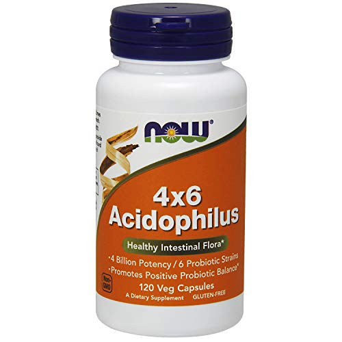 Now Supplements, Acidophilus 4X6, 4 Billion Potency with 6 Probiotic Strains, Strain Verified, 120 Veg Capsules (4x Probiotic)