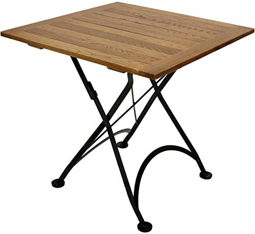 Sunnydaze European Chestnut Wood Folding Square Bistro Table – Portable Indoor Outdoor Foldable Table – Perfect for Patio, Kitchen or Camp Site – 31-Inch Square