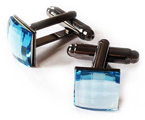 (Junee Hee Men's Swarovski Crystal Square Cufflinks 10 mm X 10 mm Blue)