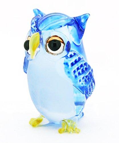 Lampwork COLLECTIBLE MINIATURE HAND BLOWN Art GLASS Single Owl Blue FIGURINE (Glass Owl Figurine)