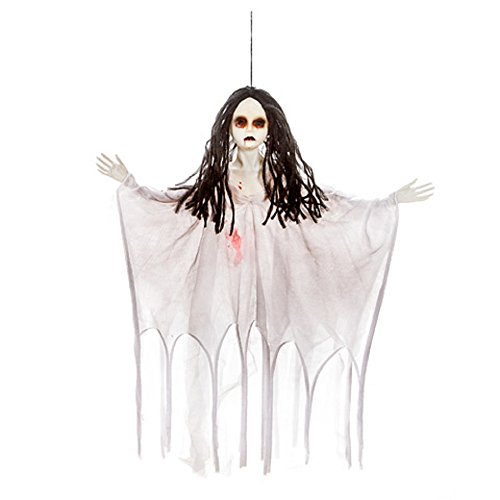 Darice 19.7 Inches x 19.7 Inches Hanging Girl Scary Halloween Decoration Light Up Decorative Hanging Ornaments