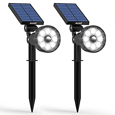 New Upgraded 3rd Generation Motion Sensor Solar Spotlight 8 LED Adjustable 3-in-1 Lighting Auto On/ Off Waterproof Outdoor Landscape Lighting Security for outside Patio Yard Garden Driveway (2Pack)