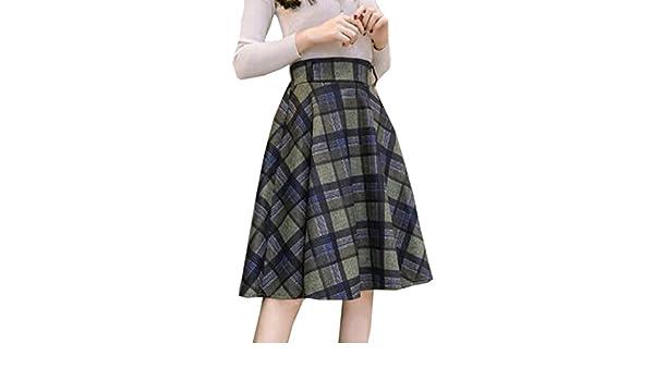 Falda Corta De Lana Enrejado Vintage Para Mujer Dama Elegante Falda De Cintura  Elástica Más Grande Faldas Acampanadas Swing Multicolor eb944119f8d7