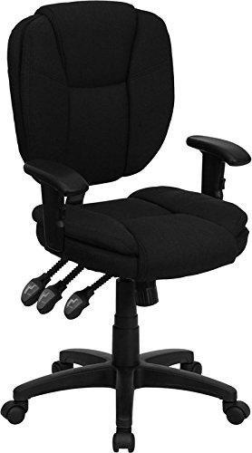 Aberdeen Mid-Back Black Fabric Ergonomic Swivel Home/Office Task Chair w/Arms