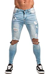 Gingtto Mens Ripped Jeans Slim Fit. Material:Blue Color Style: 98% Cotton, 2% Elastance; Black Color Style: 65% Cotton, 33% Polyester, 2% Elastance It is super stretchy and comfy to touch.Made from lightweight, super stretch denim, the...