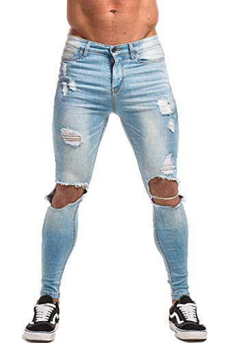 Jeans Mens Distressed - GINGTTO Skinny Jeans for Men Distressed Ripped Mens Jeans Slim Fit Stretch 32
