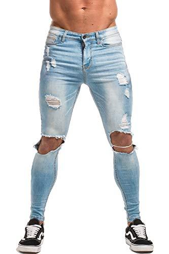 GINGTTO Super Skinny Jeans for Men Denim Pants for Men Light Blue Jeans Ripped 30