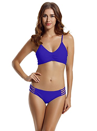 zeraca Women's Retro 2 Pieces Halter Racerback Bikini Swimsuits Large Navy