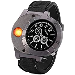 Findtime Men Digital USB Cigarette Lighter Watch Novelty Windproof