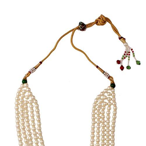 Fasherati Rajwada white green Pearl Necklace set for Women