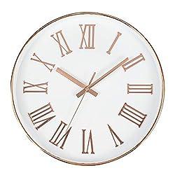 Tebery 12-inch Silent Non-Ticking Round Wall Clocks Decorative Roman Numeral Clock