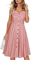 Drimmaks Women's Summer Casual Dress Florals Buttons Down Ruched Sweetheart Neck Sleeveless Midi Sundress