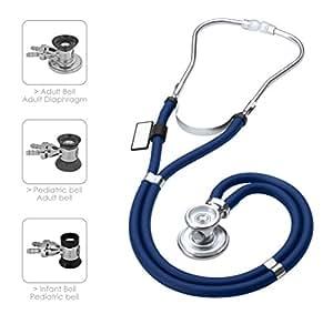 MDF Instruments MDF767-10 Sprague Rappaport - Estetoscopio doble cabeza con membrana convertible adulto, pediátrica e infantil, Azul Real