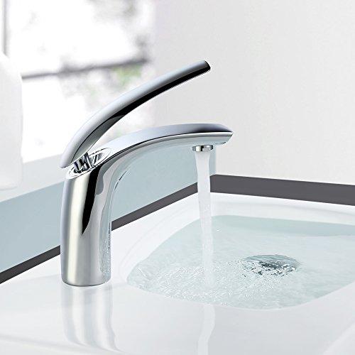 Homelody Chrom Mischbatterie Wasserhahn Bad Armatur Waschtischarmatur Waschbeckenarmatur Einhebelmischer Badarmatur Waschtischmischer Waschbecken Armatur