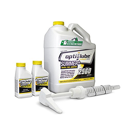 Opti-Lube Summer+ Formula Diesel Fuel Additive: 1 Gallon with Accessories (1 Hand Pump, 2- Empty 4oz Bottles) Treats up to 2,560 Gallons
