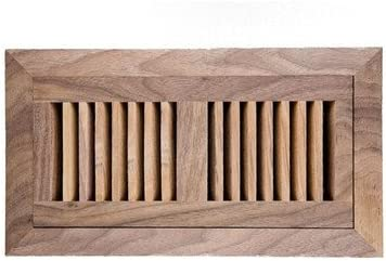 American Walnut Flush Mount Wood Vent Cover With Frame Metal Damper Size 4 X 12 Heating Vents