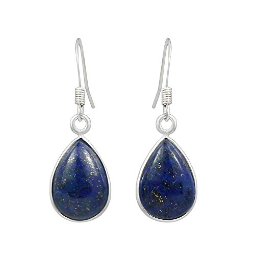 Lapis Earrings Dangle Sterling Silver Wire wrap hook Earrings for Women and Girls