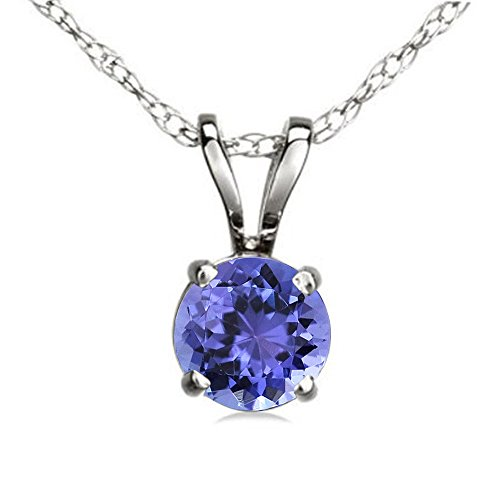 (Dazzlingrock Collection 10K 6 mm Round Cut Tanzanite Ladies Solitaire Pendant (Silver Chain Included), White Gold )